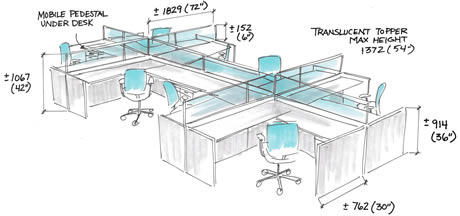 Charmant Workstations Vary In Size Depending On Their Function And Accommodate  Average Requirements For Work Surfaces,