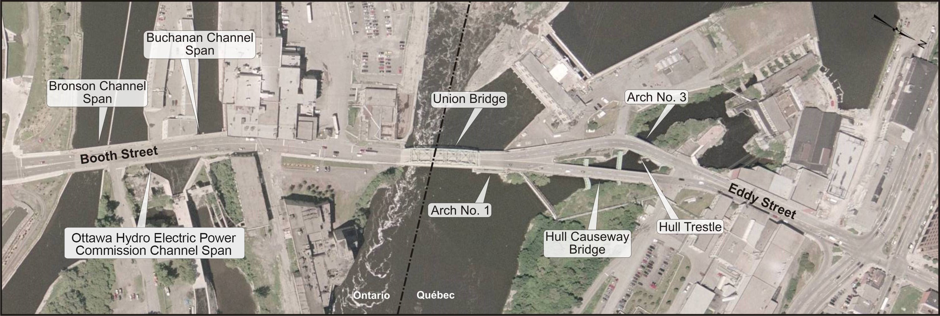 Aerial view of the Chaudiere Crossing - Description below