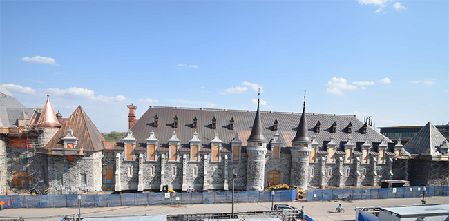 Front view of the current reconstruction on the Voltigeurs de Québec Armoury
