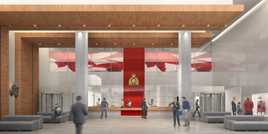 Future RCMP E Division Headquarters facility lobby (GTAP artist rendering)