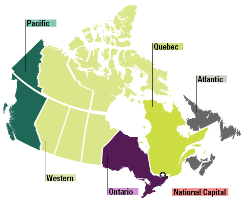 Map of Canada. Select a region for more information on that region