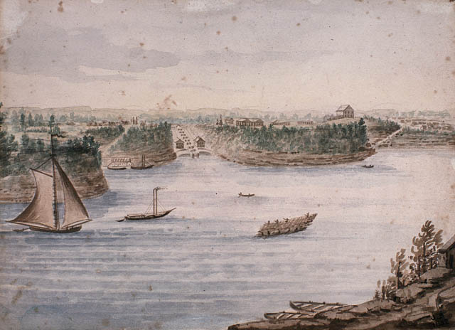 View enlarged image of the Rideau Canal Locks and Barrack Hill, circa 1832