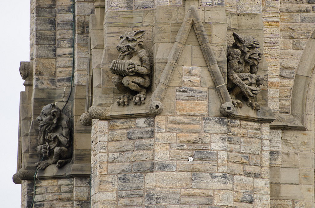 View enlarged image of grotesques adorning the outside of the Peace Tower