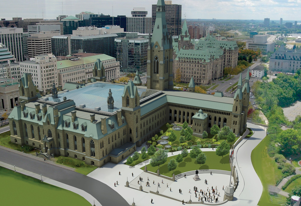 View enlarged image of an artist's rendering of the redesigned West Block building and courtyard infill roof.