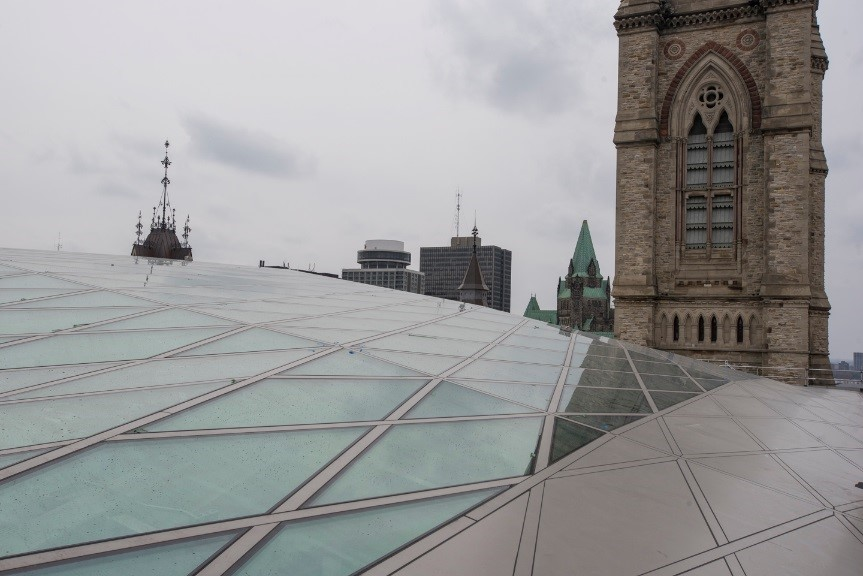 View enlarged image of an exterior view of a glass roof.