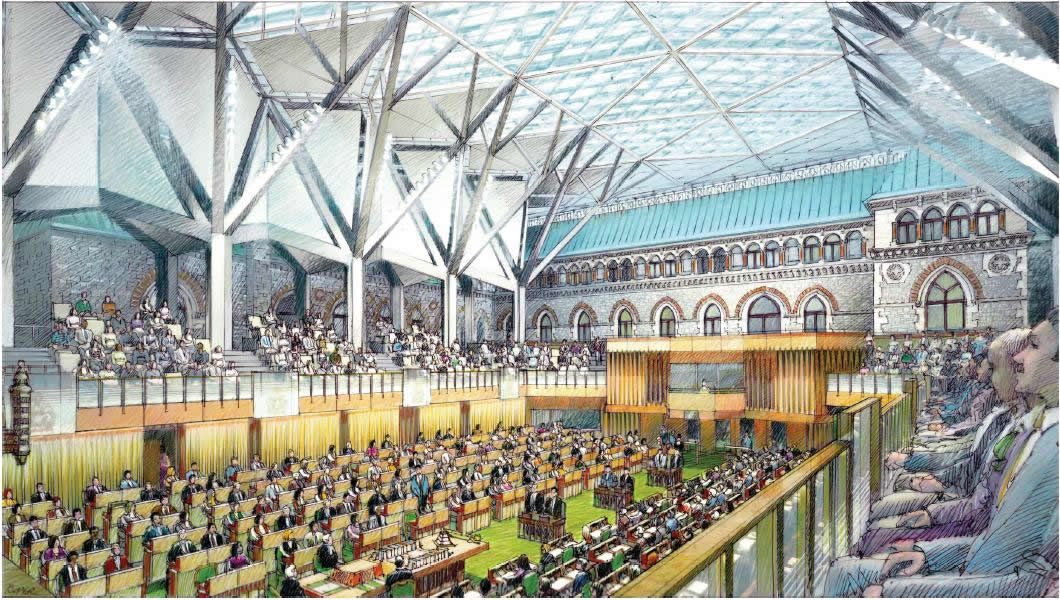 View enlarged image of an artist's rendering of the House of Commons Chamber