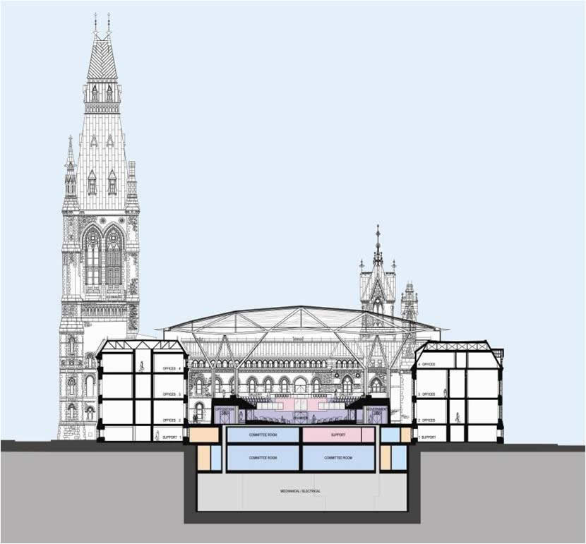 View enlarged image of an artist's rendering of a cross-sectional view of the redesigned West Block building, including the House of Commons Chamber.