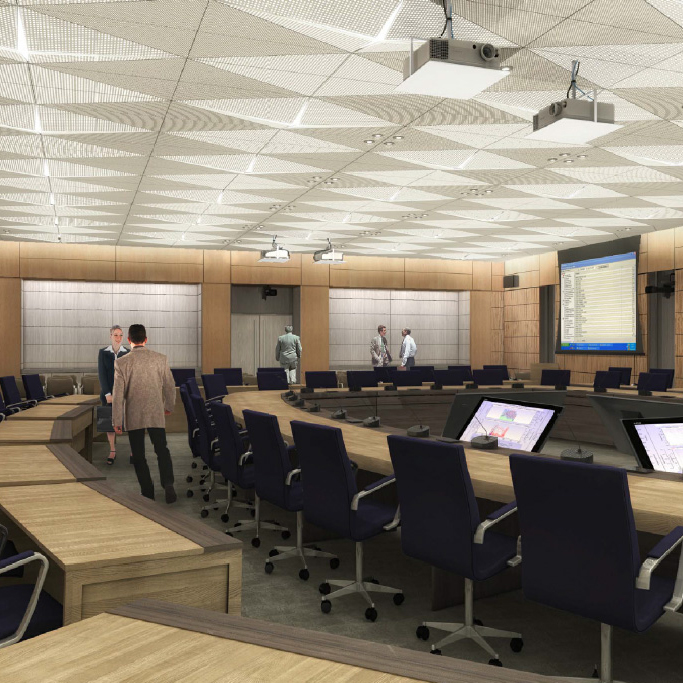 View enlarged image of an artist's rendering of one of the committee rooms