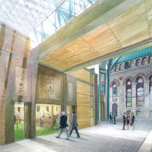 View enlarged image of an artist's rendering of the foyer to the House of Commons Chamber