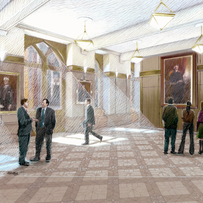 View enlarged image of an artist's rendering of the scrum area in the West Block's north wing