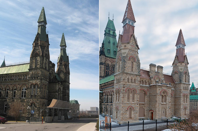 View enlarged image of the West Block's north towers before and after rehabilitation