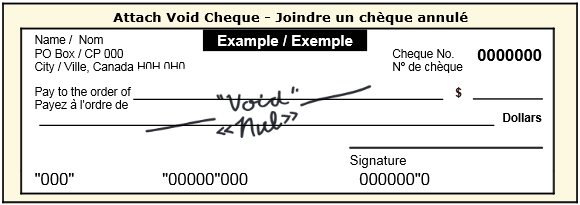 Writing a void cheque sample
