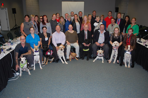 The CGSB Committee on Service Dogs is pictured here from a 2015 meeting. The most recent, sixth committee meeting was held from September 20 to 22, 2017 in Gatineau, Quebec.