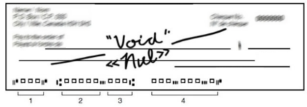 Image of a blank cheque with 'VOID' written on it